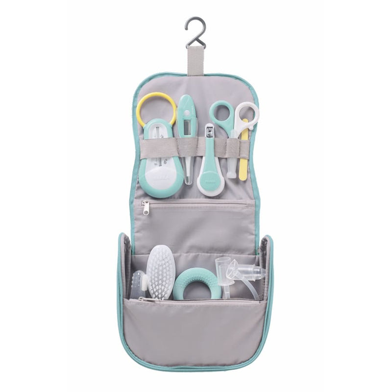 Beaba Hanging Toiletry Pouch + 9 Accessories - Grey | Beaba | Baby Essentials