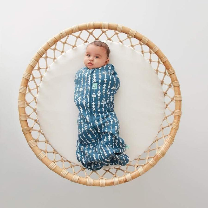 ergoCocoon Swaddle To Sleep Bag (0.2 Tog) - Midnight Arrows | ErgoPouch | Baby Sleep