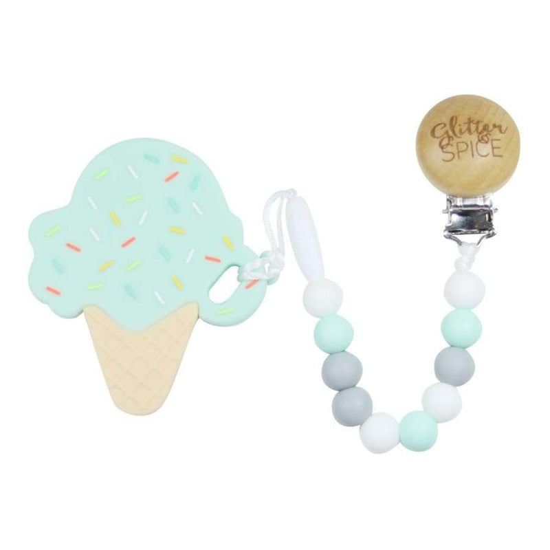 Glitter & Spice Ice Cream Cone Teether - Cotton Candy | Glitter & Spice | Baby Essentials