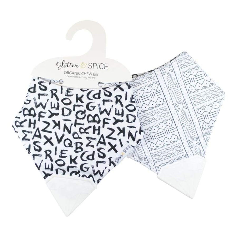 Glitter & Spice Organic Double Sided Chew Bib - A to Z/Mudcloth | Glitter & Spice | Baby Essentials