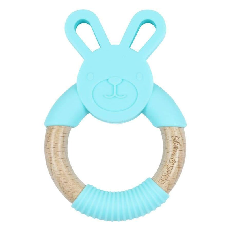 Glitter & Spice Wooden Bunny Teether - Blue | Glitter & Spice | Baby Essentials