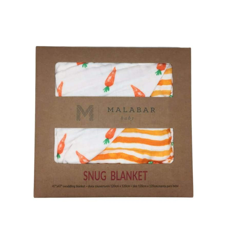 Malabar Baby Snuggle Blanket - Carrots/Orange Stripe Reversible | Malabar Baby | Baby Sleep