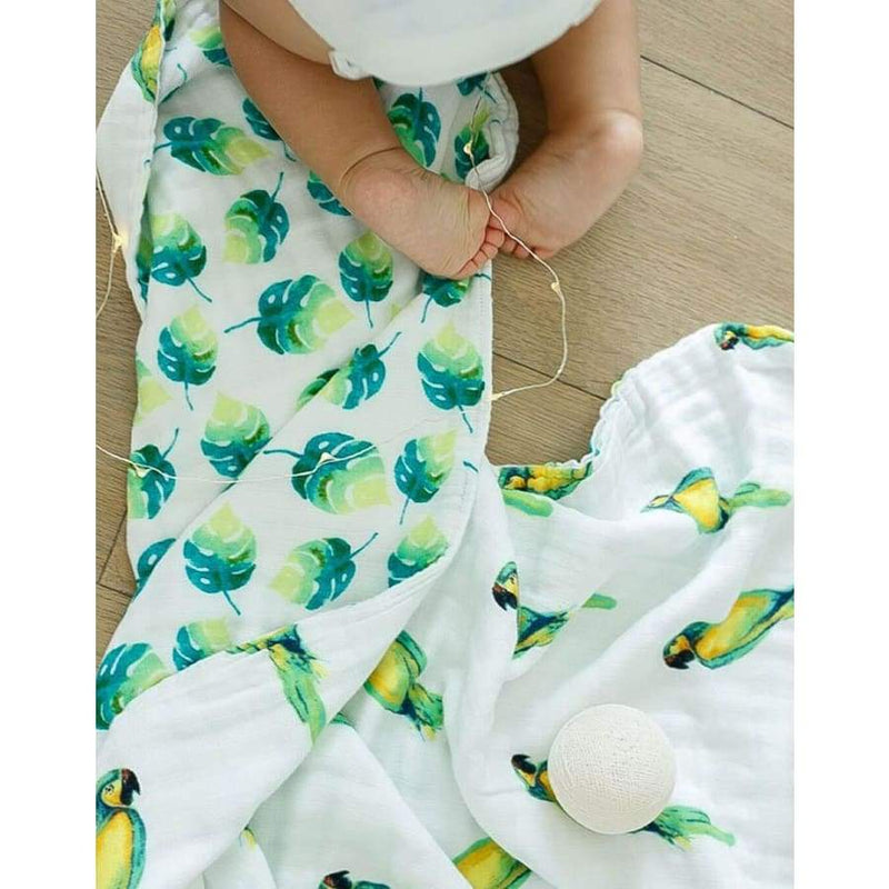 Malabar Baby Snuggle Blanket - Parrot/Leaf Reversible | Malabar Baby | Baby Sleep