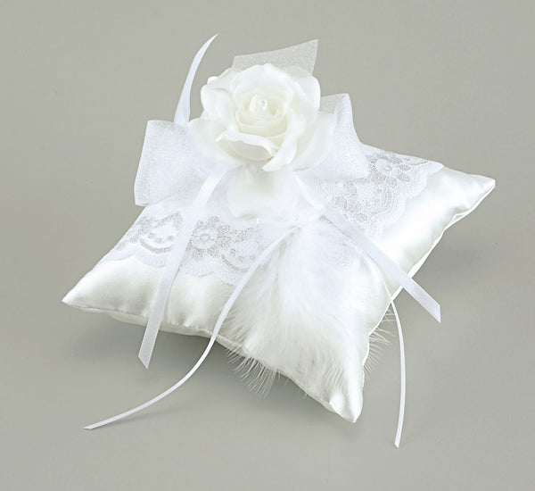 Ring Pillow – with Rose and Feather