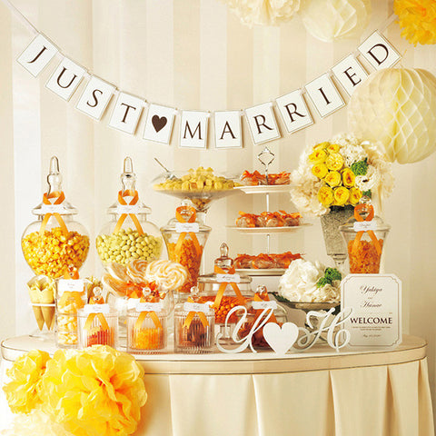 "Flag Garland – ""Just Married"" (Style B) White"