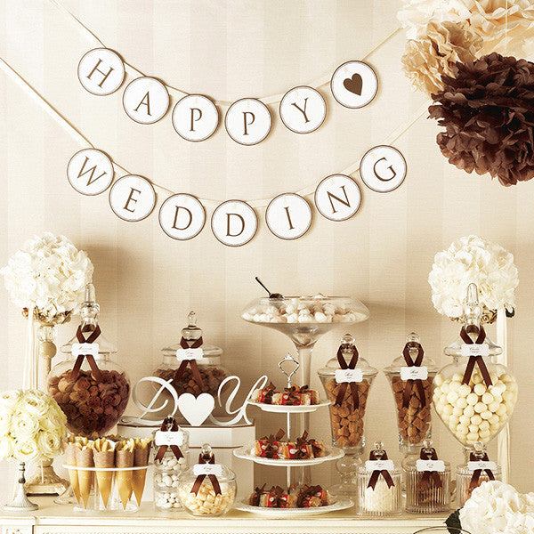 "Flag Garland – ""Happy Wedding"" White"