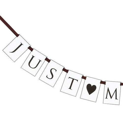 "Flag Garland – ""Just Married"" (Style B) Brown"