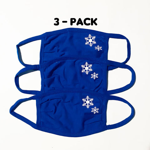 3-Pack of ADULT Blue Snowflake Face masks