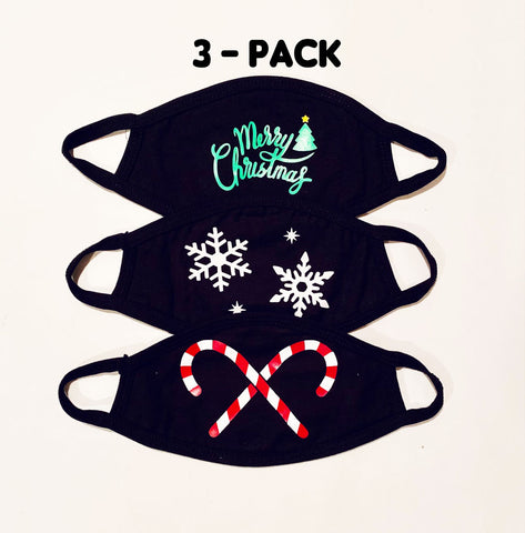 3 pack ADULT Christmas themed face masks