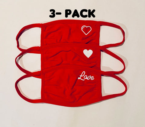 3-Pack of ADULT Heart / Love Red Face masks