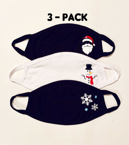 3 pack ADULT Winter Seasonal face masks