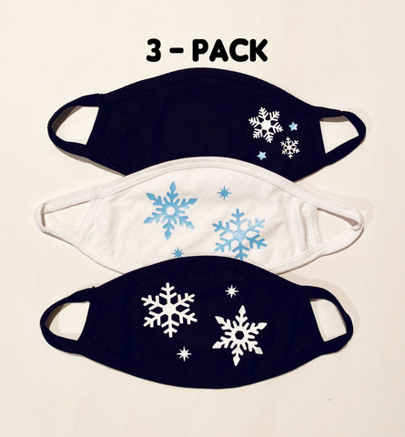 3 pack ADULT Snowflakes face masks
