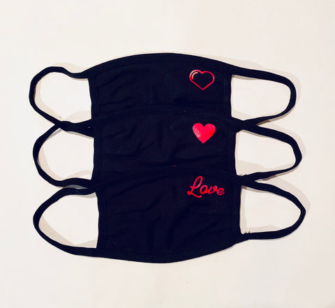 3-Pack of ADULT Heart / Love Black Face masks
