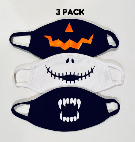 3 pack ADULT Scary Halloween face masks