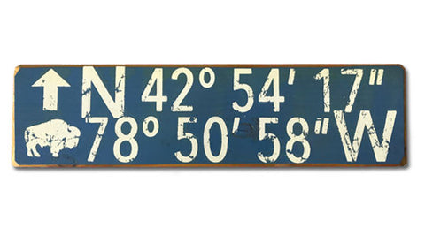 Longitude / Latitude Buffalo NY rustic wood sign