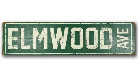 Elmwood Ave rustic wood sign
