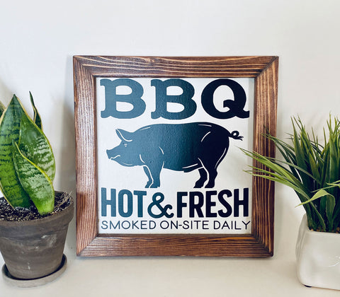 Hot & Fresh BBQ Farmhouse sign