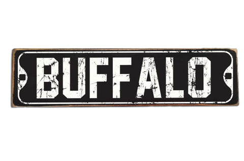 Vintage Buffalo, NY (black) rustic wood sign