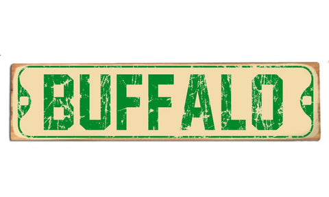 Vintage Buffalo (green) rustic wood sign