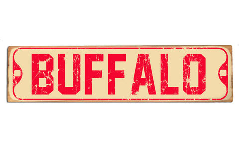 Vintage Buffalo (red) rustic wood sign