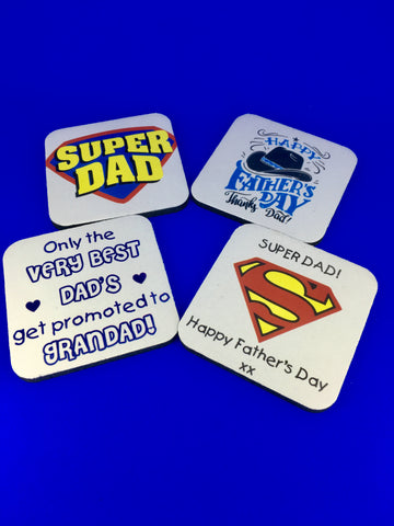 Fathers Day Drinks Coaster Best Dad Super Dad Promoted to Grandad Present Gift