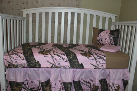 Light Pink Mossy Oak 5 Piece Crib Bedding Set