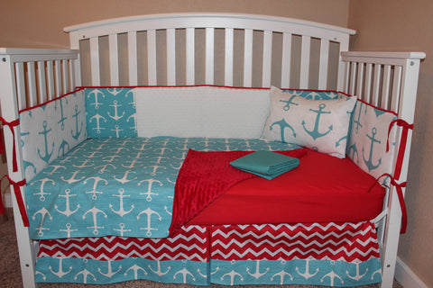 Nautical Anchor 6 Piece Crib Bedding Set