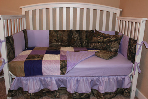Patchworked Lavender 5 Piece Crib Bedding Set