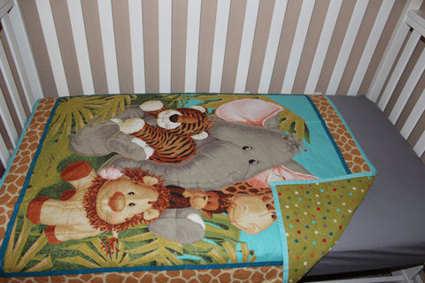 Jungle Themed Quilted Crib Blanket