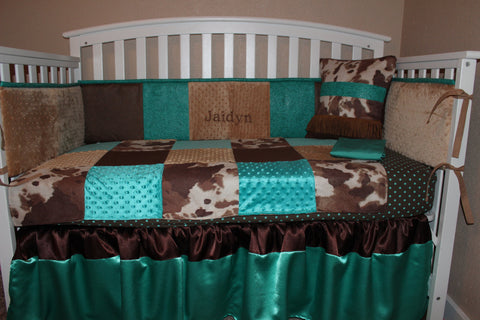 Turquoise and Brown Western Embossed 5 Piece Crib Bedding Set