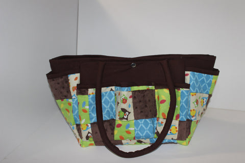Patchwork Blue Owl  Multi-Pocket Diaper Bag