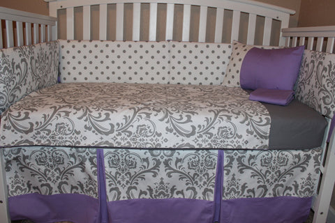 Damask and Polka Dot 6 Piece Crib Bedding Set