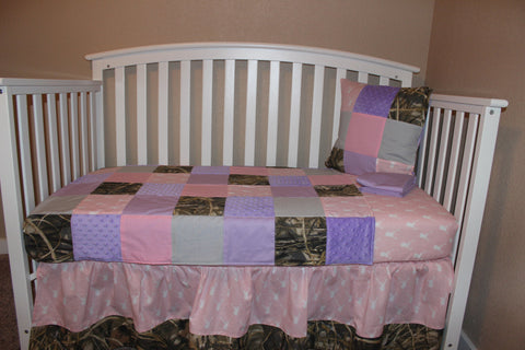 Patchworked Max 4 And Pink Deer Head 5 Piece Crib Bedding Set
