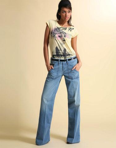 Diesel Wirky Patch Pocket Wide Leg Jeans