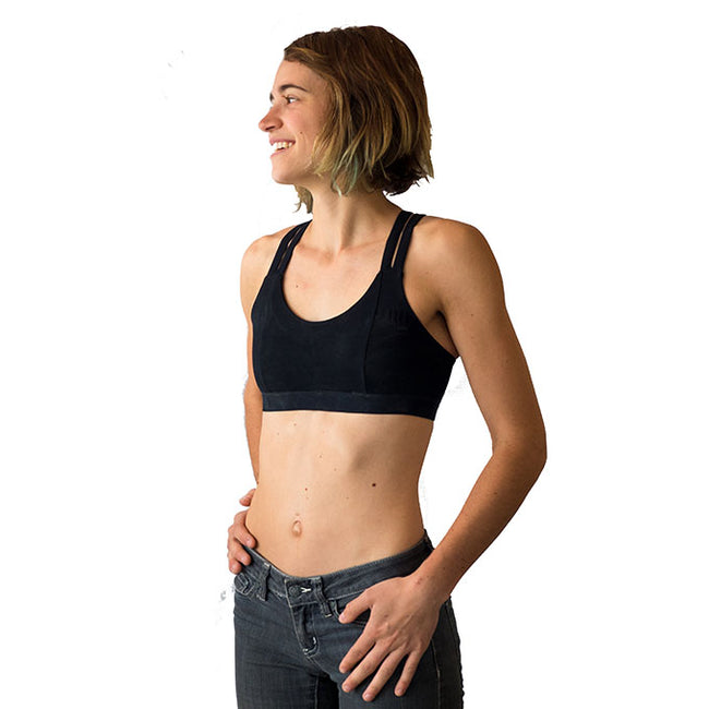 womens black climbing sports bra side