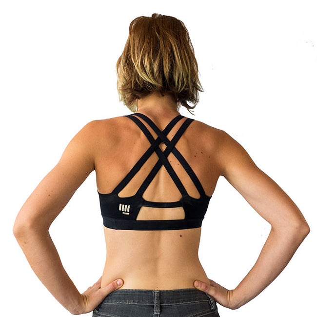 HoldBreaker X womens black climbing sports bra back