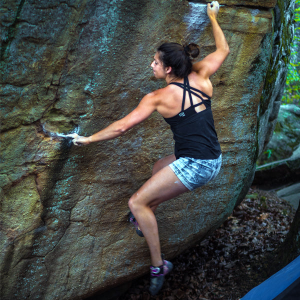 HoldBreaker X - Black rock climbing tank top with built in sports bra for bouldering