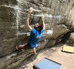 HoldBreaker mens light blue climbing tshirt from side