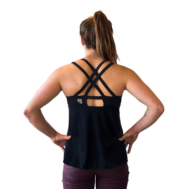 HoldBreaker X black climbing tank top with built in sports bra