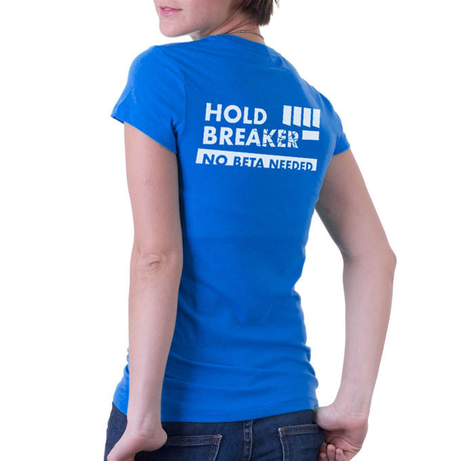 Womens climbing tshirt blue back