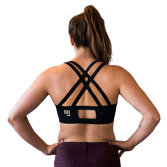 womens black climbing sports bra back