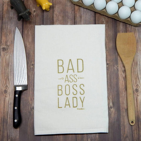 Bad Ass Boss Lady Flour Sack Tea Towel - Galena River Wine and Cheese