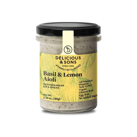 Delicious & Sons Organic Basil & Lemon Aioli 6.35oz-Galena River Wine and Cheese