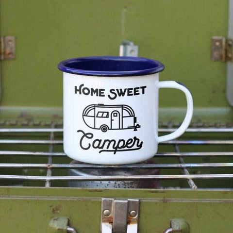 Fun and Retro Home Sweet Camper Enamel Camping Mug-Galena River Wine and Cheese