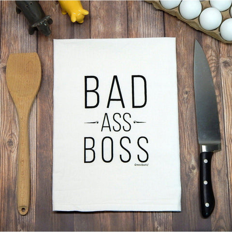 Green Bee KC Tea Towels - Bad Ass Boss Tea Towel-Galena River Wine and Cheese