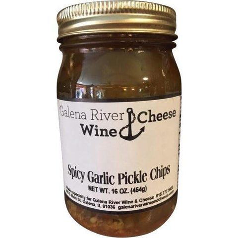 GRWC Spicy Garlic Pickle Chips 16oz-Galena River Wine and Cheese