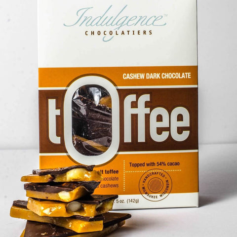 Indulgence Chocolatiers Cahew Dark Chocolate Toffee 5oz - Galena River Wine and Cheese