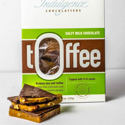 Indulgence Chocolatiers Salty Milk Chocolate Toffee 5oz - Galena River Wine and Cheese