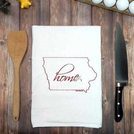 Iowa Home Hand Printed Flour Sack Tea Towel-Galena River Wine and Cheese