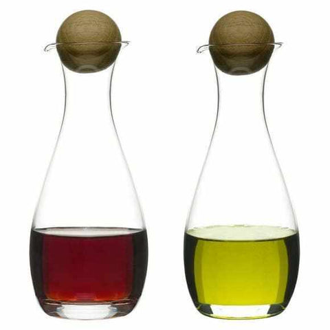 Oak Oil/vinegar bottles with oak stoppers, 2-pack-Galena River Wine and Cheese